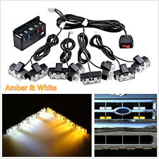 8In1 Amber&White 2-LED Car 4X4 Front Grille Emergency Strobe Light Warning Lamps