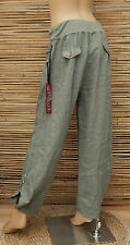 LAGENLOOK LINEN QUIRKY BOHO HAREM OVERSIZE TROUSERS/PANTS*KHAKI GREEN*SIZE M-L