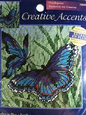 NIP Creative Accents Butterflies in Blue Needlepoint Kit - Dimensions Crafts 5X5