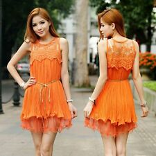NEW LADIES LAYERED ORANGE CHIFFON LACE CROCHET DRESS, UK 8-10