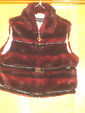 Womens Baby Phat Faux Fur Burgundy Full Zip Vest Jacket Metal Clasps 2XL