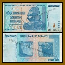 Zimbabwe 100 Trillion Dollars, 2008 AA Circulated, (50 20 10 trillion series)