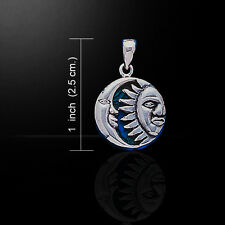 SUN & MOON Sterling Silver Celestial Pendant With Genuine Paua Shell