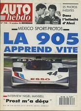 AUTO HEBDO n°748 du 10 Octobre 1990 SPORT PROTO MEXICO ALESI