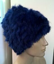 royal blue real genuine rabbit fur wool knitted hat head warmer unisex