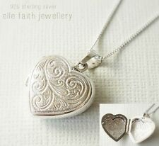 925 Solid Sterling Silver Heart Locket Pendant Necklace With Chain & Gift Box