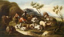 Surprised Oil painting sleeping Shepherd with sheep cows goats dog in landscape