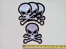 """4 Medium Pirate Skull / X (BW) Embroidered Patches 5.75""""x5"""""""