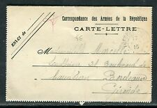 """France - Carte lettre FM """" des tranchées """" pour Bordeaux en 1916  réf O182"""