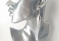 Gorgeous long silver tone & diamante long triangle design drop earrings * NEW *