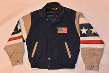 FOUNTAIN SPORT RACING BOAT JACKET! LEATHER SLEEVES & TRIM/EMBROIDERED FLAG/USA S