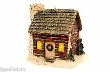 Vtg HOUSE LOG CABIN Shaped XMAS CANDLE Unused, Displayed Light MICA Very Pretty