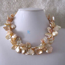 """18"""" 16-18mm Peach Pink Keshi 2Row Freshwater Pearl Necklace"""