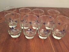 """Set of 8 ~ Vintage Libbey Clear Glass Purple Pansies Glasses ~ 5 1/4"""" Tall"""