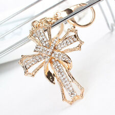 New Arrive Cross Flower Charm Pendant Crystal Purse Bag Key Chain Ring Accesorie