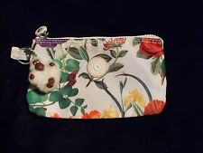 Kipling CREATIVITY white with flowers nylosedZip Top Wallet Storage Bag