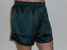 Bottle Green Crepe Poly Satin Boxer Shorts  X / Large
