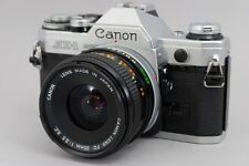 Near Mint Canon AE-1 with 2Lens NFD50mm f1.8 FD 35mm f3.5 Silver from Japan a116