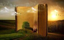 "oil painting handpainted on canvas ""a large book,tree,birds,landscape""@NO2525"