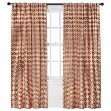"THRESHOLD RED TILE (LOOKS BURNT ORANGE,NOT RED) BACK TAB WINDOW PANEL 84"" DRAPE"