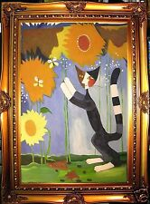 CAT SUNFLOWER GARDEN  HAND PAINTED oil painting paint wall decor art gift F186