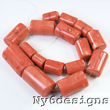 "18x15mm-40x20mm Dyed Orange-red Natural Coral Large Tube Beads 15"" (CO236)k"