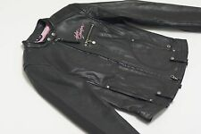Harley Davidson Womens PINK LABEL Script Black Leather Jacket S 98160-10VW