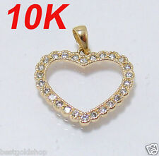 Prong Set CZ Heart Charm Pendant with Clear Zircon Stones Real 10K Yellow Gold