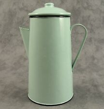 FRENCH COUNTRY JADEITE GREEN ENAMEL METAL COFFEE POT ~ 42 OUNCE ~ ENAMELWARE ~