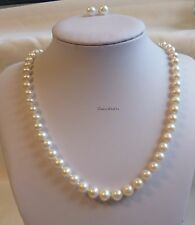 Genuine 7-8mm near round freshwater pearl necklace+earring white L50cm