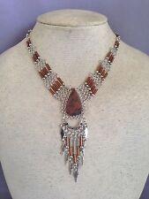 Mahogany Obsidian semi-precious stone bugle beads necklace Peruvian