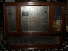 Old dark wood framed mirror with shelf, 4 mirrors, for restoration