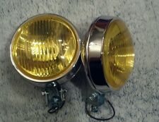 2 BMW e30 e28 2002ti1600 round glass chrome bumper mount fog lights yellow pair