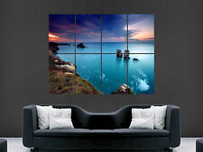 Belle sea littoral sunset grand art giant poster print image énorme
