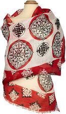 Schal Leinen, Weiß Rot Schwarz  bedruckt Sommer scarf white red black bedruckt