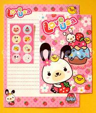 "Japanese Letter Set: Pink ""Love Usa"" Bunny & Kawaii Strawberry Flowers"