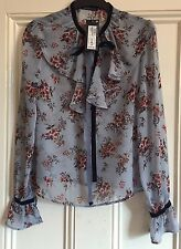 M&S Limited Edition Blue Floral Blouse. Size 8 Frill Sleeves, velvet Neck Tie.