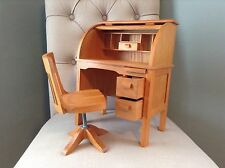 "AMERICAN GIRL Doll KIT'S DESK And CHAIR for 18"" Dolls Furniture Roll Top Wood"