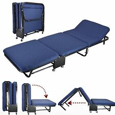 "26""Wide RollAway Guest Day/Night Bed With Steel Frame, Mattress, Blue Cover Set"
