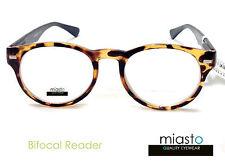 MIASTO UNISEX ~BIFOCAL~ RETRO ROUND CLEAR READER READING GLASSES EYEGLASSES+1.50