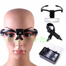 Fashion 5 Lens Head Band Magnifier Glass Visor 2-LED Light Magnifying Loupe New