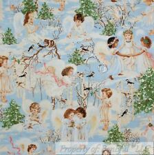 BonEful FABRIC Cotton Quilt Blue White Angel Cherub Xmas Heaven Cloud Sky SCRAP