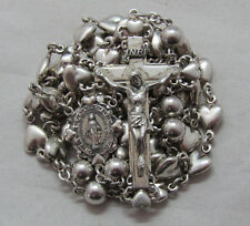† ENORMOUS HEAVY VINTAGE SOLID STERLING HEART SHAPE BEAD ROSARY 94.54 GRAMS †