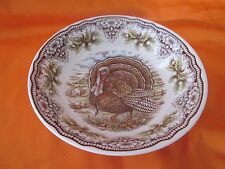 "THE VICTORIAN ENGLISH POTTERY ROYAL TURKEY THANKSGIVING 9"" DEEP SERVING BOWL NEW"