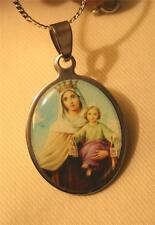 Handsome Shiny Rim Our Lady Of The Rosary Scapular Oval Picture Medal Necklace