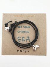 Black Leather Mens Ladies Surfer Shark Tail Wrap Bracelet Anklet + Surf Card