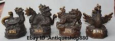 Bronze Gilt Four Great God Beast Dragon Tiger Rosefinch Xuanwu Statue Full Set