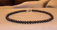 "black fresh water cultured pearl necklace with white pearl clasp 15.875"" 2-3mm"