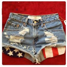 Vintage high waist or low rise distressed American flag pocket shorts