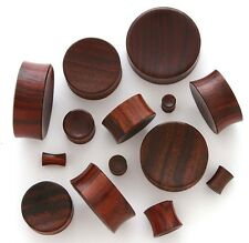 """Pair 7/8"""" 22mm Brown Sono Organic Solid Wood Concave Saddle Plugs Ear Gauge 230"""